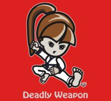 Martial Arts/Karate Girl - Deadly Weapon (gray font) Kids Tee