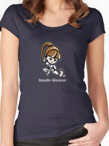 Martial Arts/Karate Girl - Deadly Weapon (gray font) Women's Fitted Scoop T-Shirt