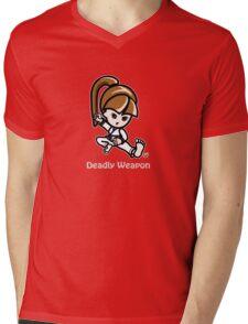 Martial Arts/Karate Girl - Deadly Weapon (gray font) Mens V-Neck T-Shirt