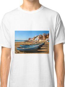 Blue fishing boats in Ahrud near Agadir, Morocco Classic T-Shirt