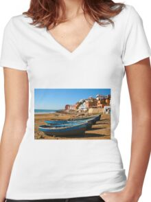 Blue fishing boats in Ahrud near Agadir, Morocco Women's Fitted V-Neck T-Shirt