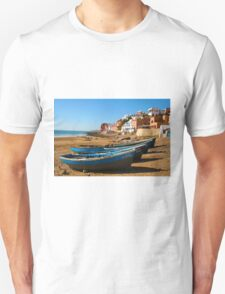 Blue fishing boats in Ahrud near Agadir, Morocco T-Shirt
