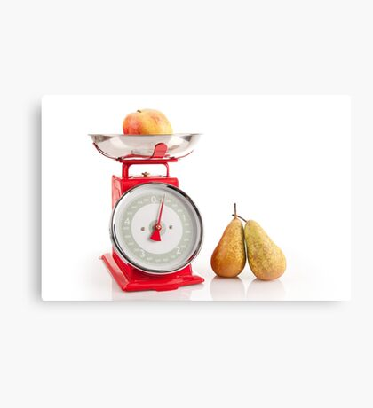 Kitchen red weight scale utensil Metal Print