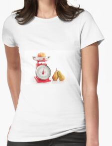Kitchen red weight scale utensil Womens Fitted T-Shirt