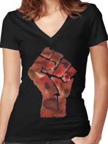 Black Power Fist Women's Fitted V-Neck T-Shirt