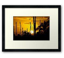 Ala Moana Harbor Sunset Framed Print