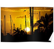 Ala Moana Harbor Sunset Poster