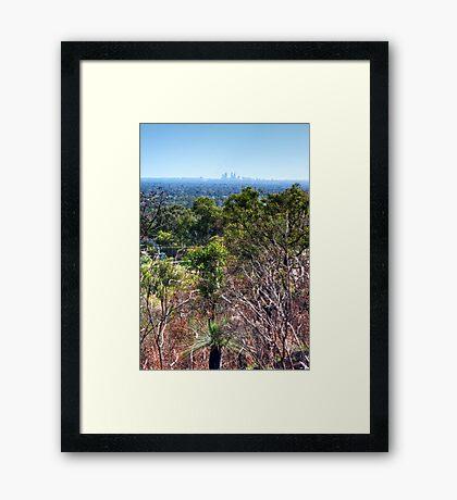 Perth city from Kelmscott hills Framed Print