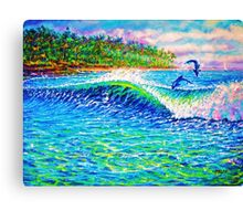 Dolphin Play Canvas Print