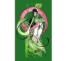 Geisha in Green with Koi and lotus Flowers Photographic Print