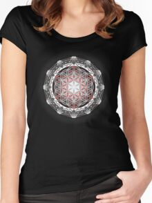 Flower of Life & Metatrons Cube Women's Fitted Scoop T-Shirt