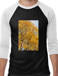Yellow leaves autumn trees Men's Baseball ¾ T-Shirt