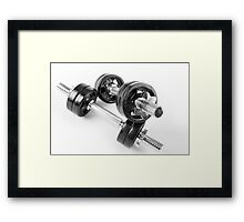 Chrome bolt on hand barbells weights Framed Print