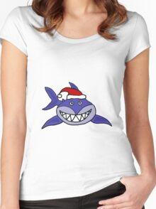 Awesome Grinning Blue Shark in Santa Hat Women's Fitted Scoop T-Shirt