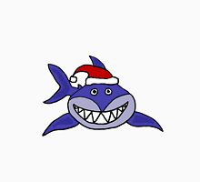 Awesome Grinning Blue Shark in Santa Hat Unisex T-Shirt