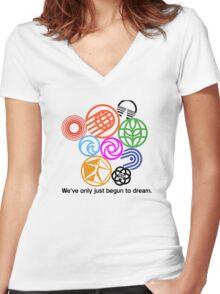 Epcot Center Classic Pavilion Logos  Women's Fitted V-Neck T-Shirt