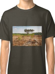 Woods lone trunk in deforestation Classic T-Shirt