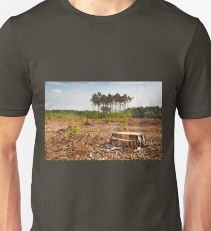 Woods lone trunk in deforestation Unisex T-Shirt