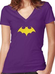 Batgirl Symbol Purple Women's Fitted V-Neck T-Shirt