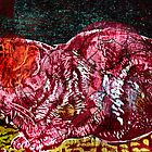 Pink snoozing cat on gold cloth by Pat  knight