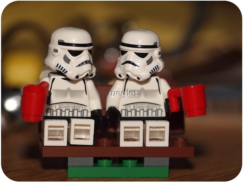Stormtrooper cuppa park bench by weglet