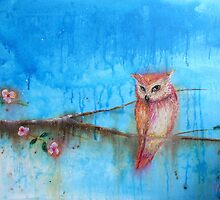 Pink Owl on Blossom Branch by Karen King