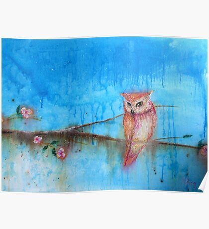 Pink Owl on Blossom Branch Poster