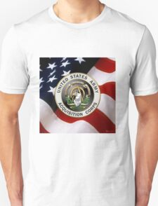 Acquisition Corps - A A C Branch Insignia over U. S. Flag T-Shirt