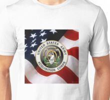 Acquisition Corps - A A C Branch Insignia over U. S. Flag Unisex T-Shirt