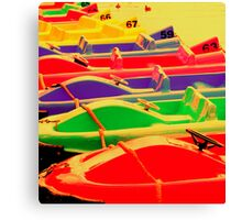 Bright Coloured Paddle Boats, Chester uk. Canvas Print