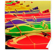 Bright Coloured Paddle Boats, Chester uk. Poster