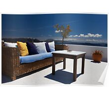 balcony exterior and sea panorama view Poster