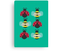 Ladybugs and bees Canvas Print