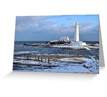 St Mary's Lighthouse and Posts, Winter Greeting Card