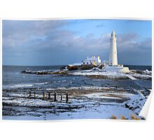 St Mary's Lighthouse and Posts, Winter Poster