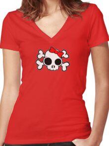 Skull & Crossbones Bow behind Women's Fitted V-Neck T-Shirt