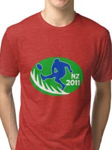 rugby player kicking ball new zealand 2011 Tri-blend T-Shirt