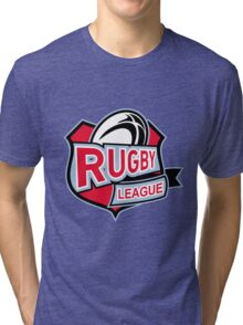 rugby league ball shield Tri-blend T-Shirt