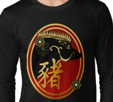 Year Of The Pig-Black Boar Oval Long Sleeve T-Shirt