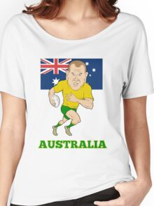 Rugby player running with ball Australia flag Women's Relaxed Fit T-Shirt