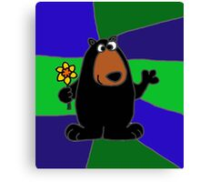 Funky Black Bear Holding Yellow Daffodil Flower Canvas Print