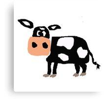 Funny Primitive Art Black and White Cow Canvas Print
