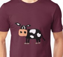 Funny Primitive Art Black and White Cow Unisex T-Shirt