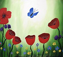 poppy dream, butterfly and flower art painting by wrightsonarts