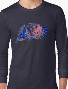 Owl in flight - Orange/Blue  Long Sleeve T-Shirt