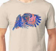 Owl in flight - Orange/Blue  Unisex T-Shirt