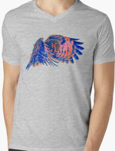 Owl in flight - Orange/Blue  Mens V-Neck T-Shirt