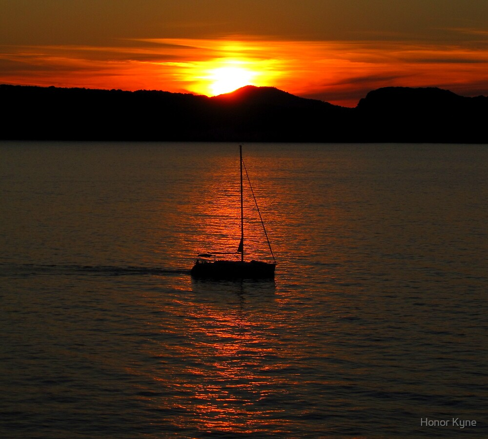 Croatian Sunset and Boat Sillhouette by Honor Kyne