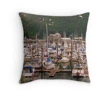 Whittier Alaska Harbor Throw Pillow