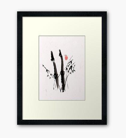 Sumi-e Bamboo Framed Print